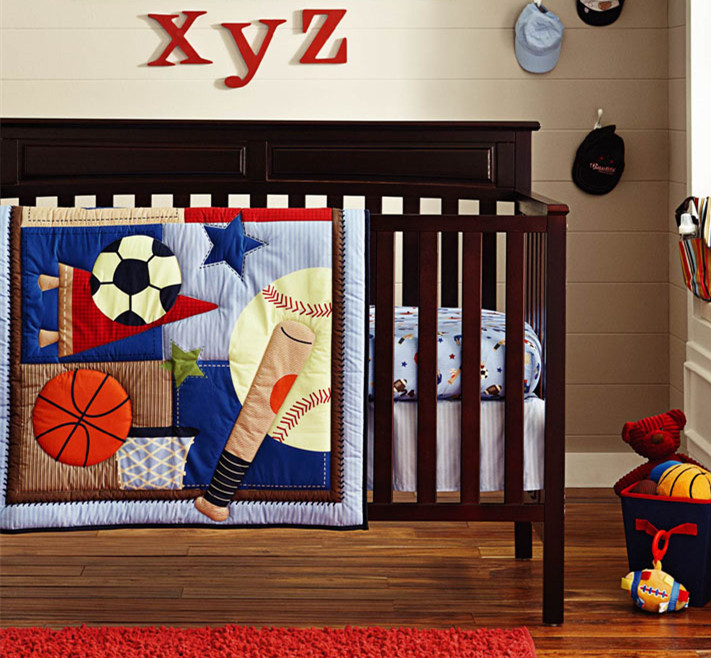 Discount! 6pcs embroidery Baby Cot Crib Bedding Set Kit Comforter Bumper Fitted Sheet Skirt ,include(bumper+duvet+bed cover)<br>