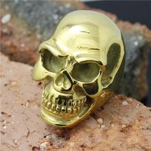 Cool Big Classic Golden Skull Ring