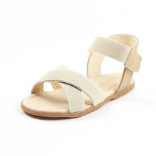 2016 Summer Fashion Elastic Band Toddler Girls Sandals European Style Kids Beach Sandals Cross Straps Girls Summer Shoes Beige(China (Mainland))
