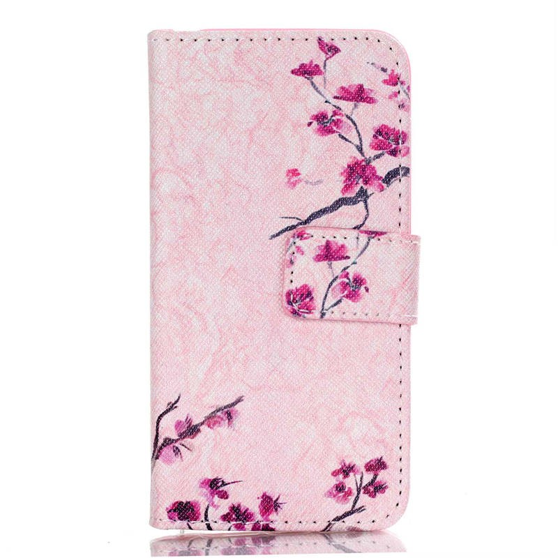 Beautiful Cartoon Print PU Leather Flip Phone Case Cover For Apple iPhone 5s 5 SE Full Protective Bags with Wallet