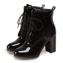 Gdgydh büyük boy 48 Patent deri çizmeler kadınlar için dantel up yüksek topuklu ayakkabılar bahar sonbahar siyah ayakkabı kadın yarım çizmeler zip(China)