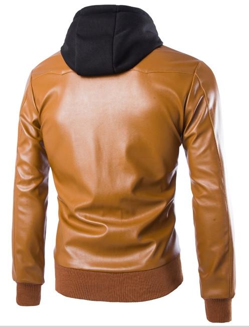 New Arrival homens Casual jaqueta de couro com capuz Top qualidade homens mornas do inverno homens casaco de moda Pu jaquetas de couro homens jaqueta