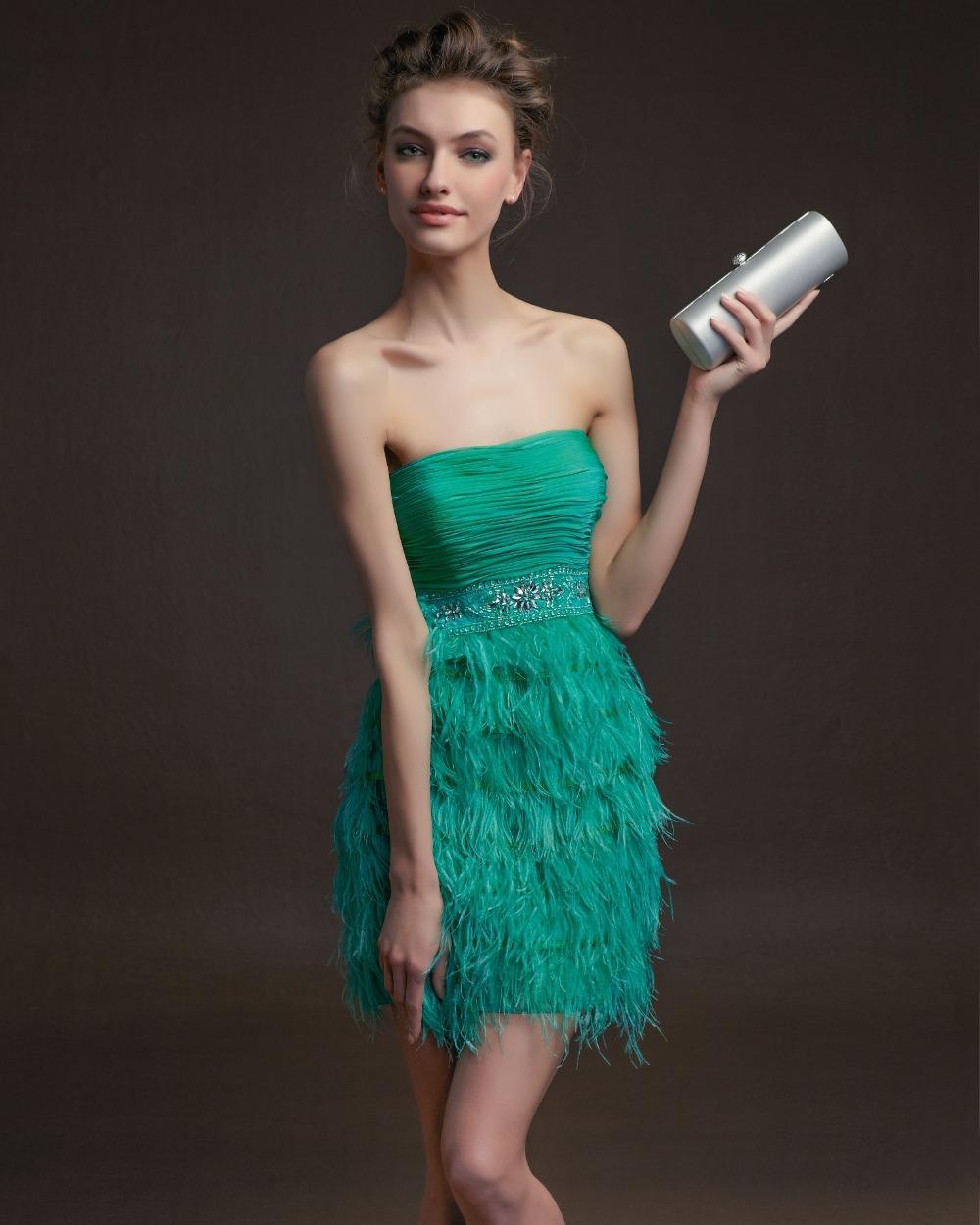 Elegant Strapless Sea Green Mini Cocktail Dresses 2016 Beaded Waist Ostrich Feather Short Party Gown Vestido Fiesta Renda(China (Mainland))