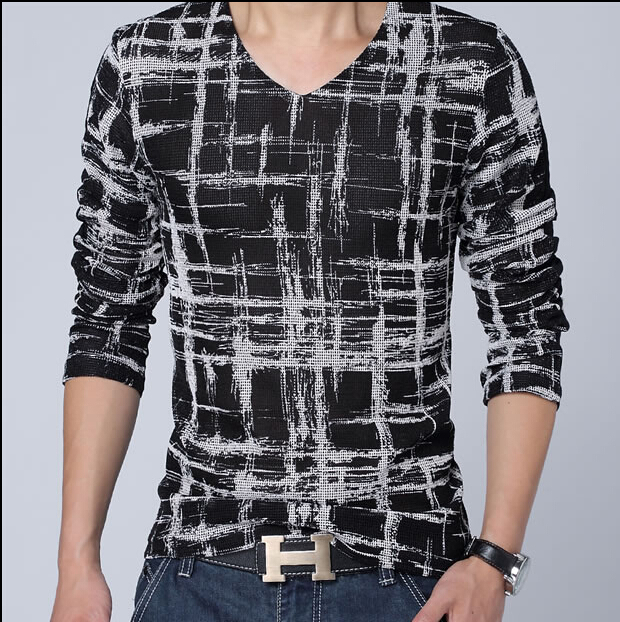 fashion mens pullover t shirt long sleeve mens t shirts