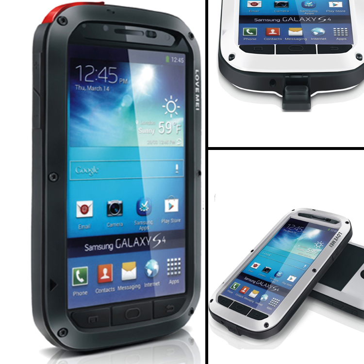 S4 Metal Cover For Samsung Galaxy S IV I9500 Waterproof Shockproof With Gorilla Glass Aluminum Case & Gift Protect Film
