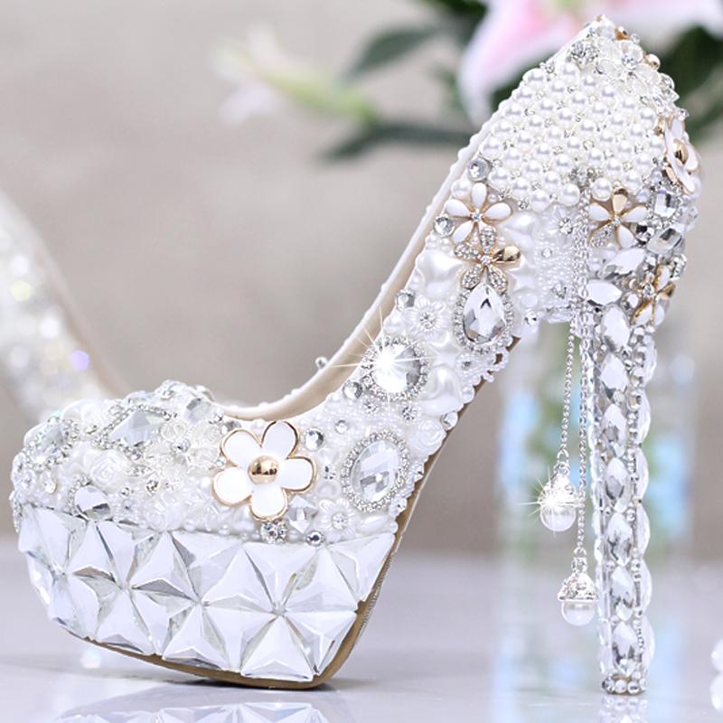 Hot Sale Pearl tassel crystal rhinestone women shoes wedding bride ultra high heels platform shoes formal dress party shoes(China (Mainland))