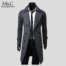 Men Fashion Outerwear Trench Coat Autumn Winter Long Overcoat Double Breasted Woolen Overcoat Man 2015 New B4(China (Mainland))