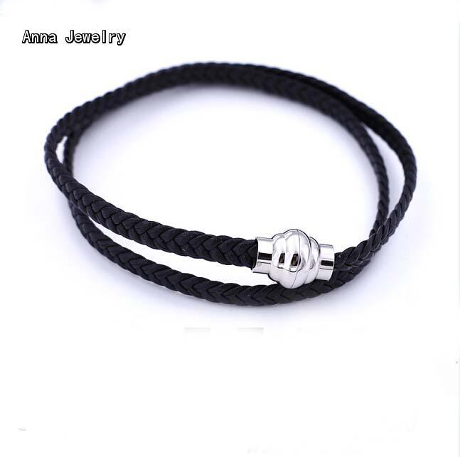 Fascinating Double Coiled Leather Bracelet In Black Calfskin Leather Platinum Plated Clasp Gorgeous Cuff Bracelet For Women/Men(China (Mainland))