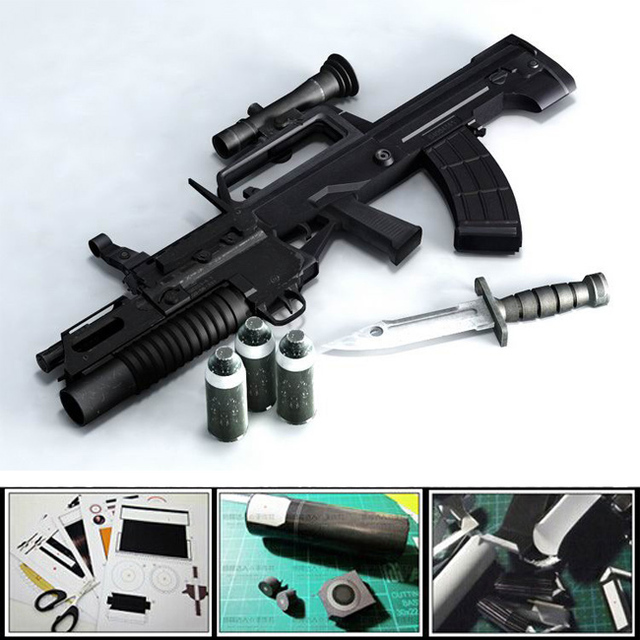 New 2016 3D paper model gun 1:1 scale QBZ-95 Automatic rifle with Tactical accessories Bayonet model,telescopic sights puzzles