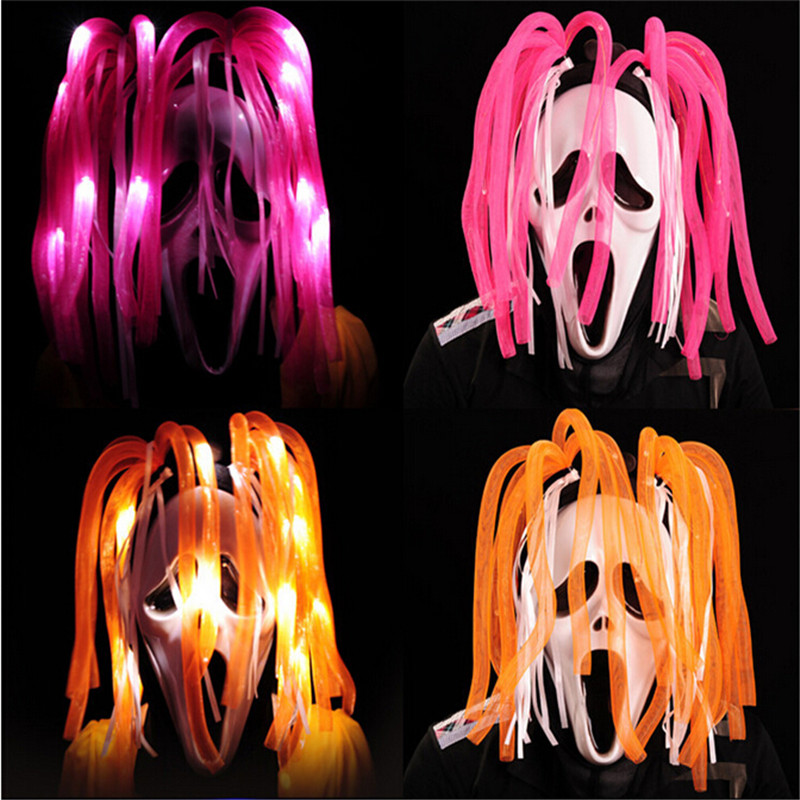 10pcs/lot Ghost Rider skull glow Halloween mask +LED headwear for Party masquerade Masks colorful hair Novelty Light up toys(China (Mainland))