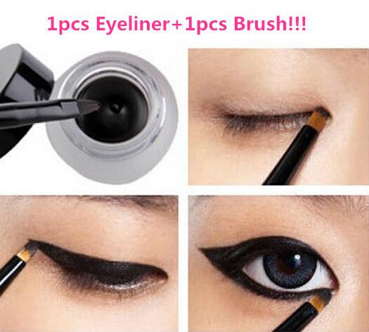 1pcs Professional Make up Black Waterproof Eyeliner Gel Brand Makeup Cosmetic Liquid Eye Liner Pencil Shadow Gel +Black Brush(China (Mainland))