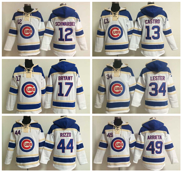 Chicago Cubs Hoody 12 Kyle Schwarber 13 Starlin Castro 17 Kris Bryant 44 Anthony Rizzo Baseball Hooded 34 Lester 49 Jake Arrieta<br><br>Aliexpress