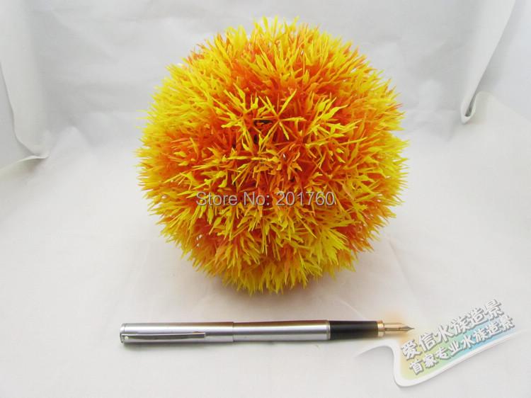 Acuarios decoraciones acuario decoración pecera pequeño tamaño bola amarilla plantas artificiales envío gratis(China (Mainland))