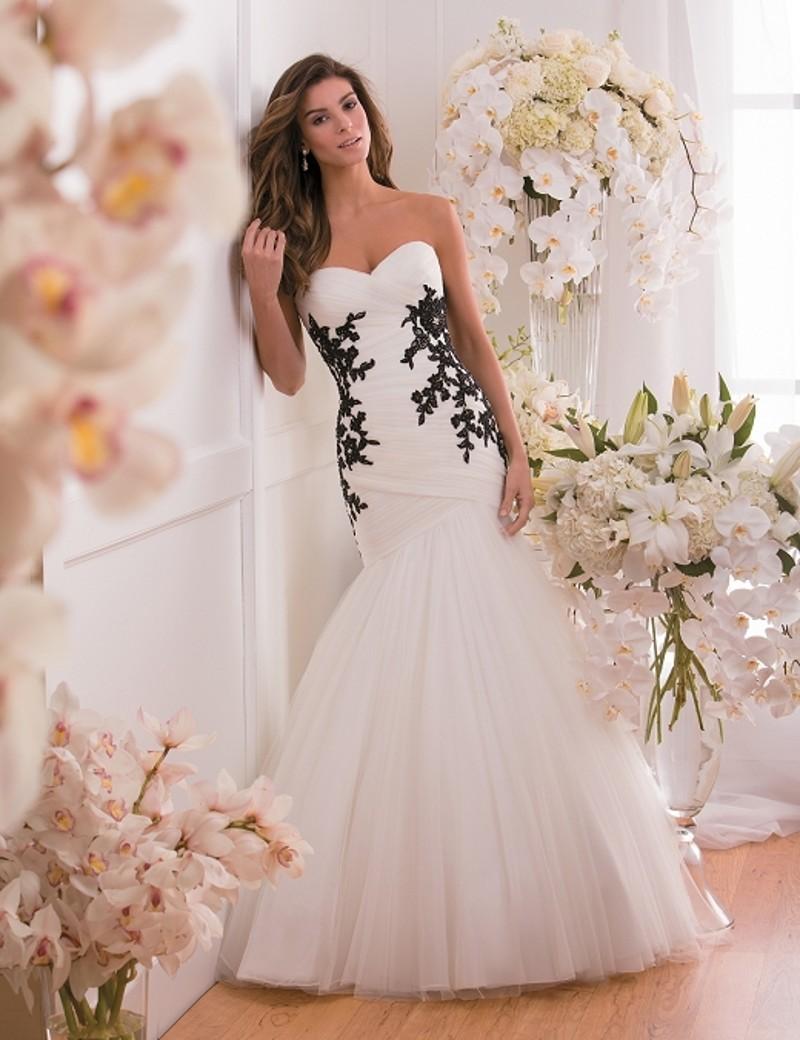 Hot Sale 2015 New Sweetheart Neckline Mermaid White Tulle Black Applique Wedding Dress Bridal Gown vestido de noiva Custom Size(China (Mainland))