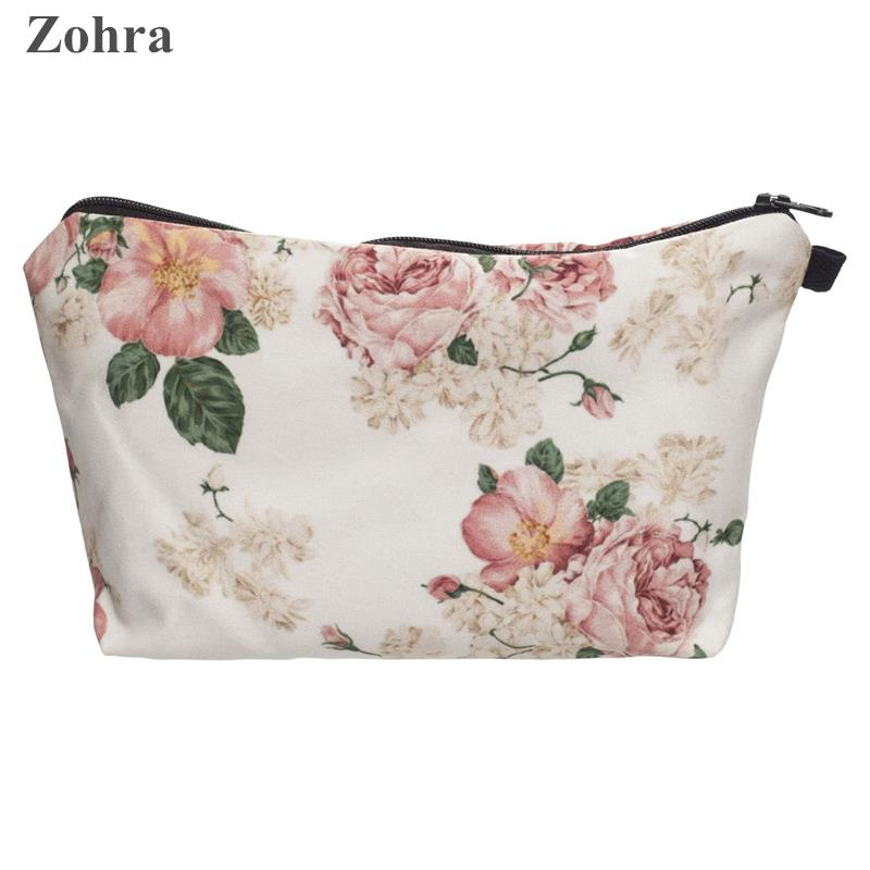 Zohra pink roses 3D printing Party Women maleta de maquiagem Cosmetics Bags neceser purse organizer necessaire travel Makeup bag<br><br>Aliexpress