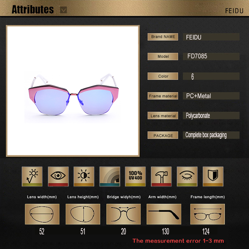 FEIDU Vintage Semi Rimless Sunglasses Women Brand Designer Mirrored Sun Glasses For Women Oculos De Sol
