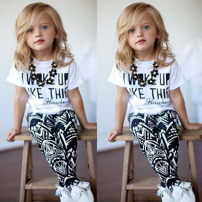 Girls Boys Clothes Sets 2pcs I Woke Up Like This Flawless Striped T-shirt Legging Pants Black 2pcs Clothing Outfits Summer 2016