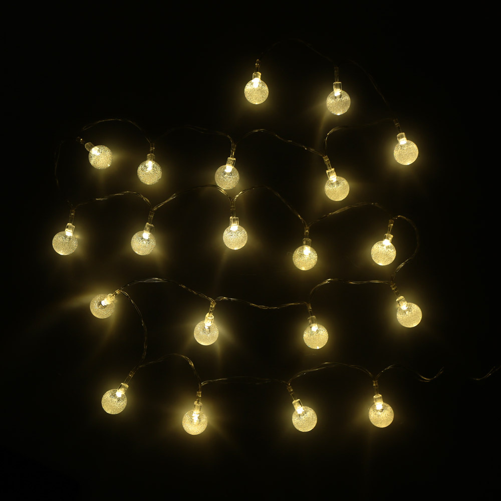 LIXADA 2.2M 20 LED Warm White Crystal Ball Globe Bubble String Lamp Fairy Light for Party ...