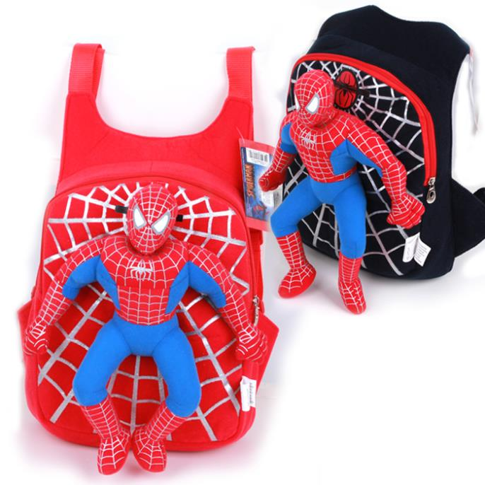 2014 New Cute backpack 3D spiderman boy school bag little child snack pack Plush Toys Children School Bag for age 1-4(China (Mainland))