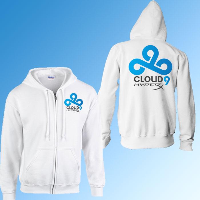 LOL Game Team C9 Cloud9 zipper hoodies Winter Autumn Warm Fleece Cotton Zip Outerwear Suit Casual Coat Jacket