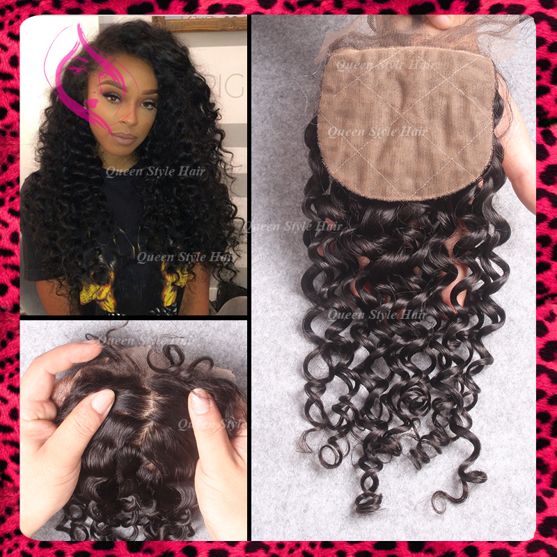 4*4 Silk Base Closure Deep Curly Malaysian Closure Free Middle Three Part Curly Closure Swiss Silk Top Lace front Closure Piece(China (Mainland))