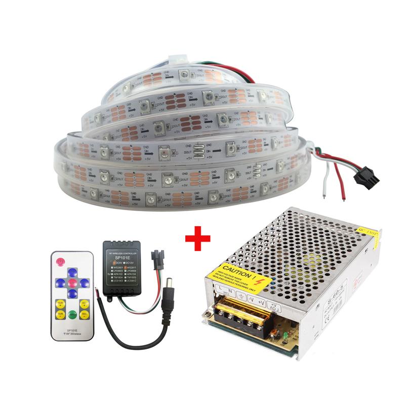 LED Lighting Set 5M Waterproof WS2812B LED Strip Dream Color 2811 IC Strip 11Keys Full Color RF Controller 5V 60W Power Supply(China (Mainland))