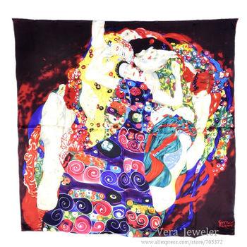 "100% Silk Scarf Square Shawl Big Satin Charmeuse Summer Scarf Gustav Klimt's ""Virgins"" Women's Scarf Head Scarves Blue Burgundy"
