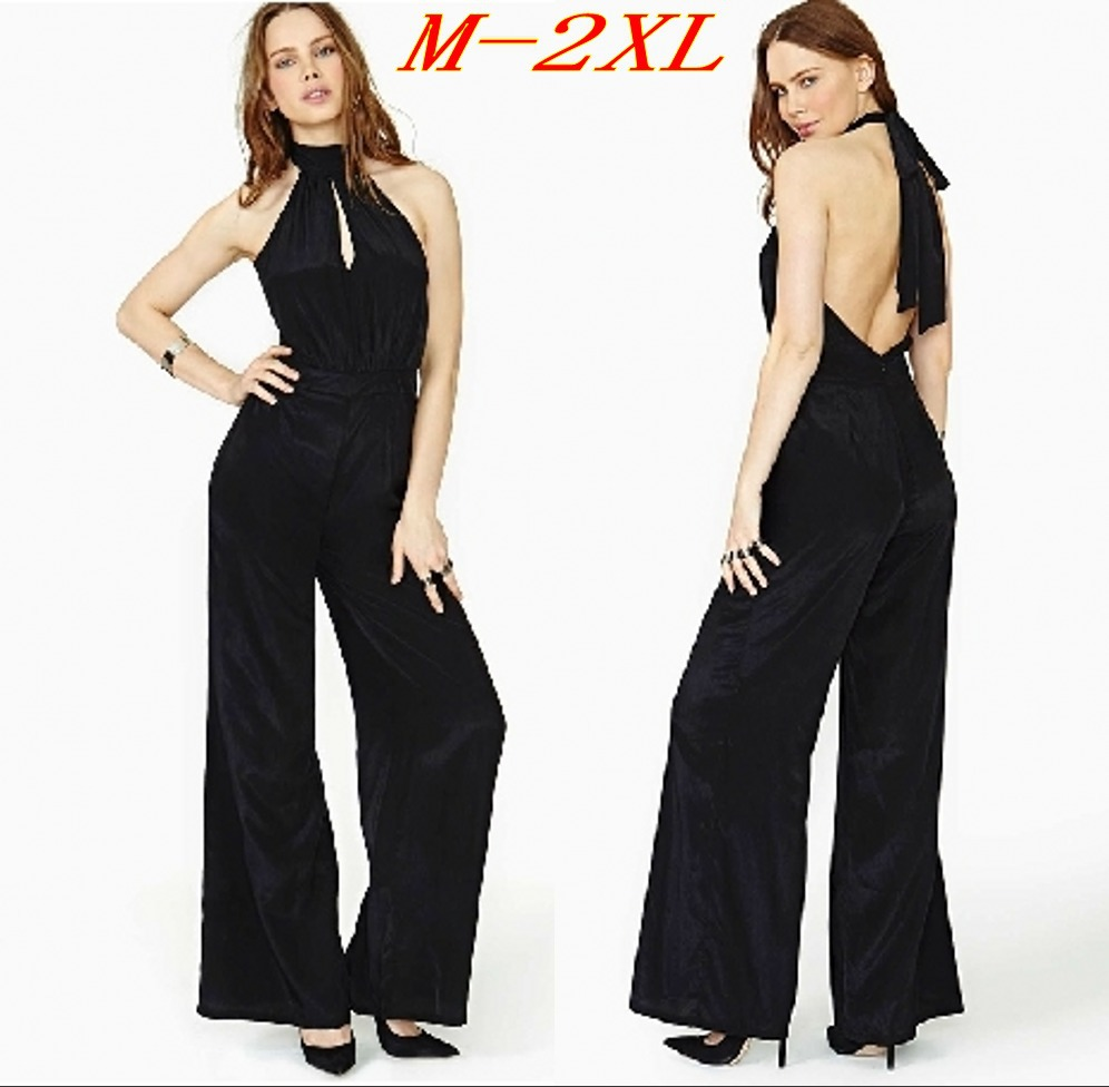 Loose Jumpsuit Women Halter Backless Sleeveless Long Pants Sexy Playsuit Overalls Wide Leg ...
