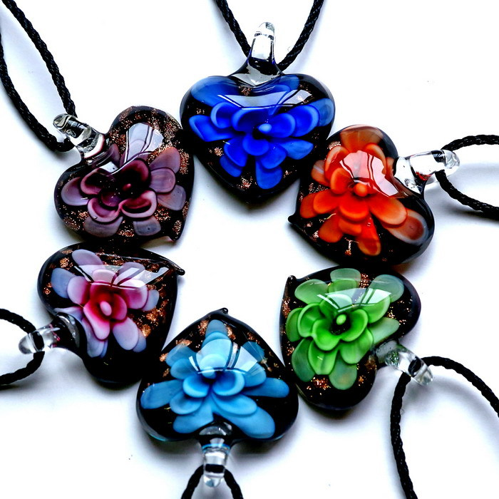 2015 hot sale summer handmade flower inner Gold dust heart lampwork murano glass pendants necklaces cheap for women necklaces(China (Mainland))
