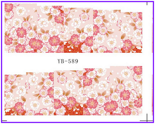 Nail Sticker Full Cover Plum Cherry Blossoms Water Transfers Stickers Nail Decals YB589-594(China (Mainland))