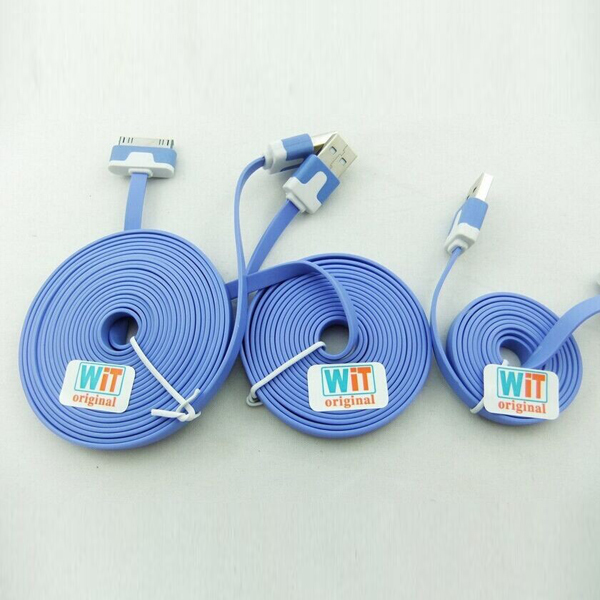 3pcs/lot 3in1 3ft 6ft 2m 10ft Extra Long Noodle Flat USB Charger Cable Cords for Iphone 4 4s Ipod Touch 4 Nano 6(China (Mainland))
