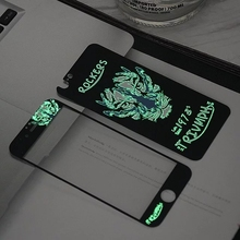 Glow in the dark luminous raised rockersTempered Glass film Screen Protector+back cover for iPhone 6 case 6S 6 Plus 6s plus