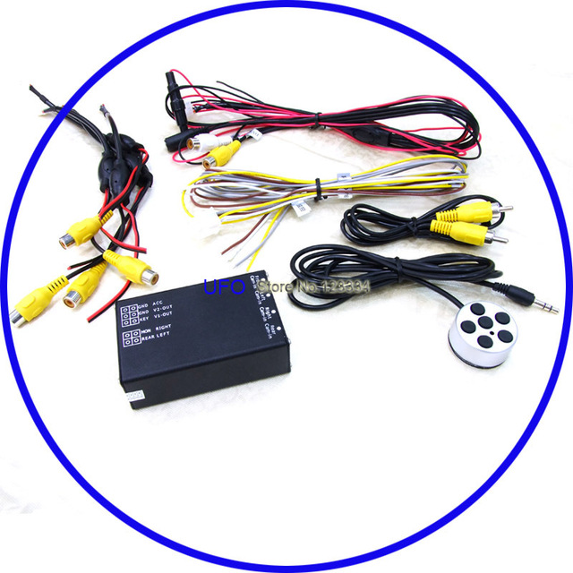 All round view car camera control box for 4 camera system Backup camera+Front camera+Left Side view+Right side view