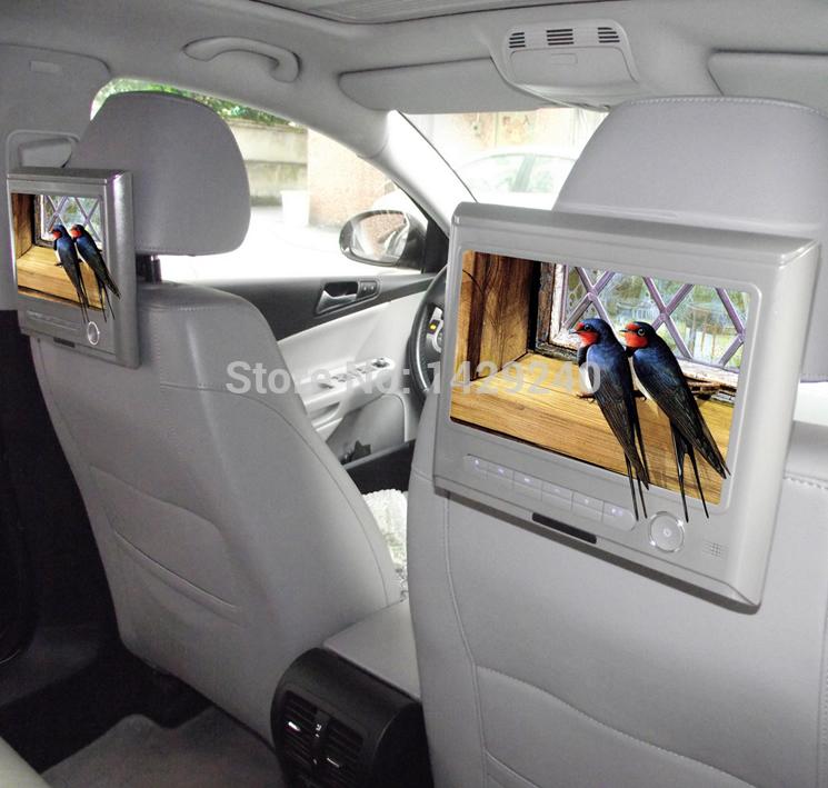 Beige 9inch Car Headrest HD Digital LCD Monitor Media Player Supports 720P/RM/RMVB/AVI/FLV/MP4/AV-In/Out/IR/FM/Game/USB/SD(China (Mainland))