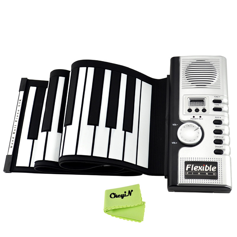 Soft Roll Up Electronic Flexible Piano Keyboard 61 Keys Foldable Portable Electric Digital  PIANO With MIDI Plug 0.25-SKP01W(China (Mainland))