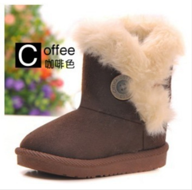 Fashion Boys Coffee Snow Boots Thicken Winter Children Shoes For 3-8 yrs Kids 2012 New Style Children Boots