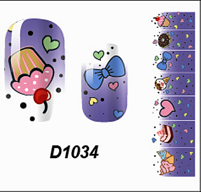 Simple Cute Cake Purple Full Nail art Decals Water Transfer Stickers Tips Decorations 11040407()