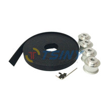 4pcs HTD 3M Timing Belt Pulley 30 Tooth Bore 6mm 6.35mm 8mm 10mm 12mm + 5 Meters Open Ended Timig Belt PU Pitch 3mm