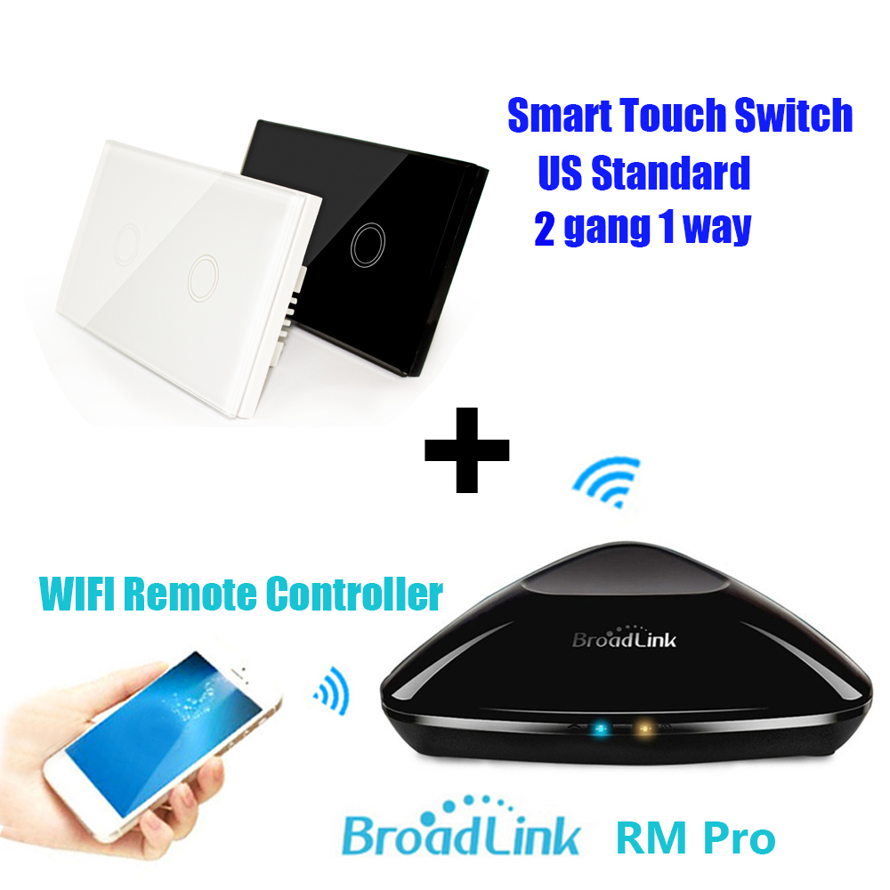 Broadlink RM Pro + Smart Wireless Touch Switch 2 Gang US Std,Home Automation WiFi Controlled IR &amp; RF Remote Center F IOS Android<br><br>Aliexpress