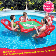 Beach Party Inflatable Toy Pool Float Large Floating Pocker Table and 4 Chairs for Texas Hold 'Em with Drink Poker Chips Holder(China (Mainland))