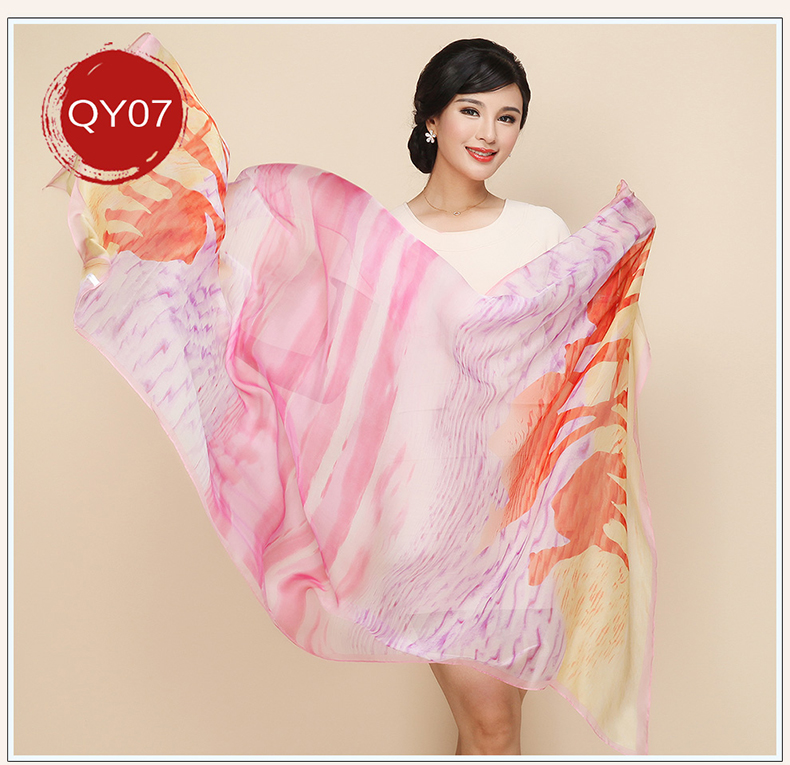 Scarf  100% silk Winter Long Soft Scarf women Luxury Brand Spring Autumn Female Shawl Printed Shawls big size Beach Cover-ups