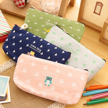 2016 pen box pouch bag bags school canvas  pencil vintage stationery printing cases large South Korea cute cheap art stationery