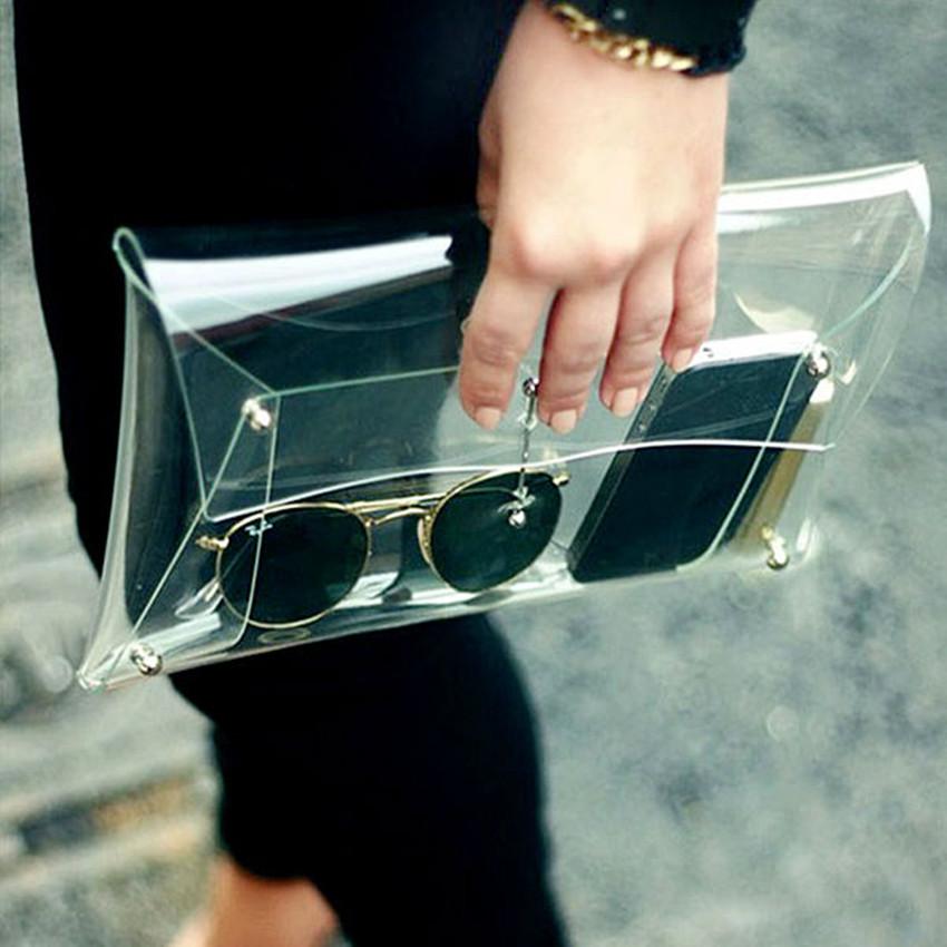 2016 Designer Unisex PVC Transparent Envelope Clutch Clear Color Bag Hand bag For Women free shipping mini bag(China (Mainland))
