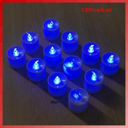 Free Shipping Blue Tea Lights LED Candle Flickering Flameless Candles Wedding Party Light(China (Mainland))