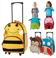 Cartoon Animal Canvas Trolley School Bag with wheels / Weekender Travel Bag rolling Luggage for Children/ kids 32*14*41cm(China (Mainland))