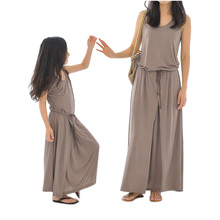 2016 Summer Mom And Daughter Dress Bohemian Beach Long Women Girl Dresses Casual Loose Family Fitted Fashion Family Clothing