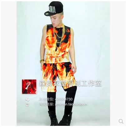 Original men singer male nightclub DJ right Zhi-Long GD hell Vulcan flame costume vest shorts suit VSTINUS Nightclubs clothingОдежда и ак�е��уары<br><br><br>Aliexpress