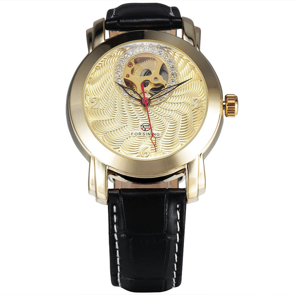 Classic FORSINING Popular Crystal Automatic Mechanical Watch Womens Skeleton Golden Leather Luxury Band Female Dress Gift Clock<br><br>Aliexpress
