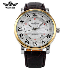 New WINNER Classic White Dial Gold Case Rome Number Auto Automatic Mechanical Date Brown Leather Wrist Men's Dress Watch