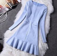 Autumn Winter Fashion Women Dress Long Sleeve Suede 2016 New Spring Elegant Casual bodycon Prom Party Dress Slim vestidos(China (Mainland))